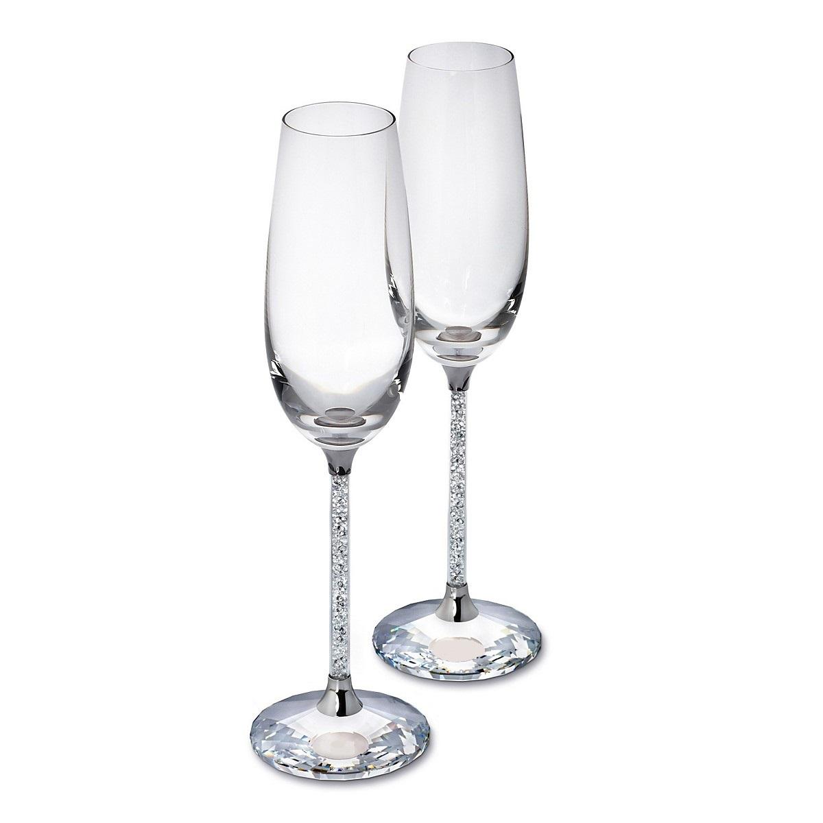 Pair Of Swarovski Crystal Filled Stem Champagne Flutes