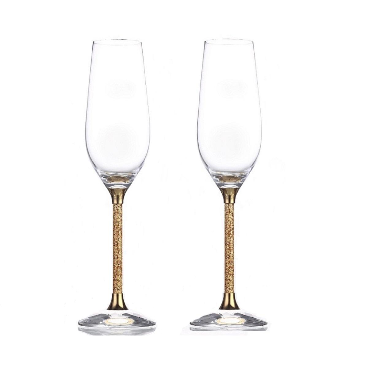 / Glassware / Pair of 24ct Gold Leaf Stem Crystal Champagne Flutes