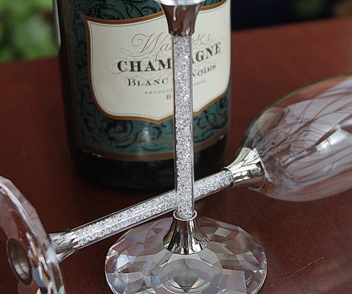 Set Of Swarovski Crystal Filled Stem Champagne Flutes