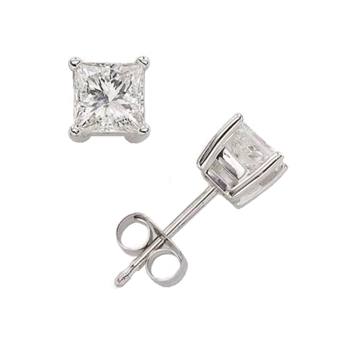 Sterling Silver Square Swarovski Stud Earrings