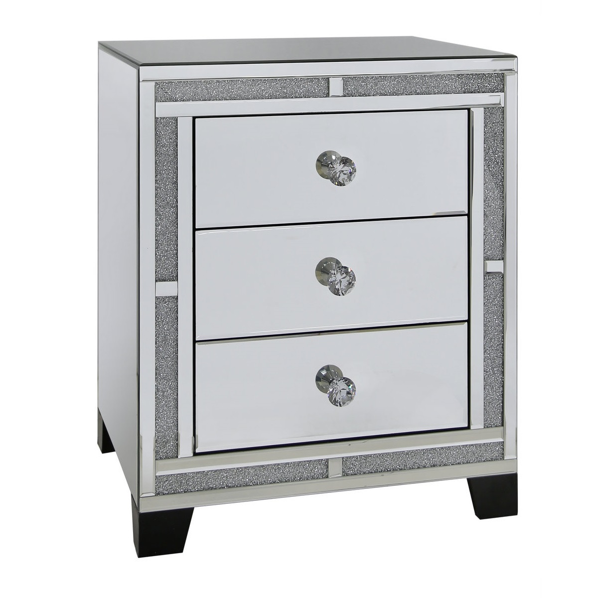 Tuscany mirrored 3 drawer bedside table with swarovski for Mirror bedside cabinets