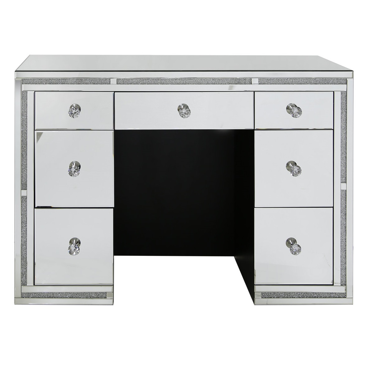 Mirrored drawer dressing table with swarovski crystals