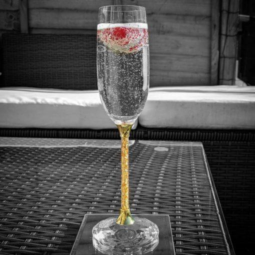 Pair of 24ct Gold Leaf Stem Crystal Champagne Flutes