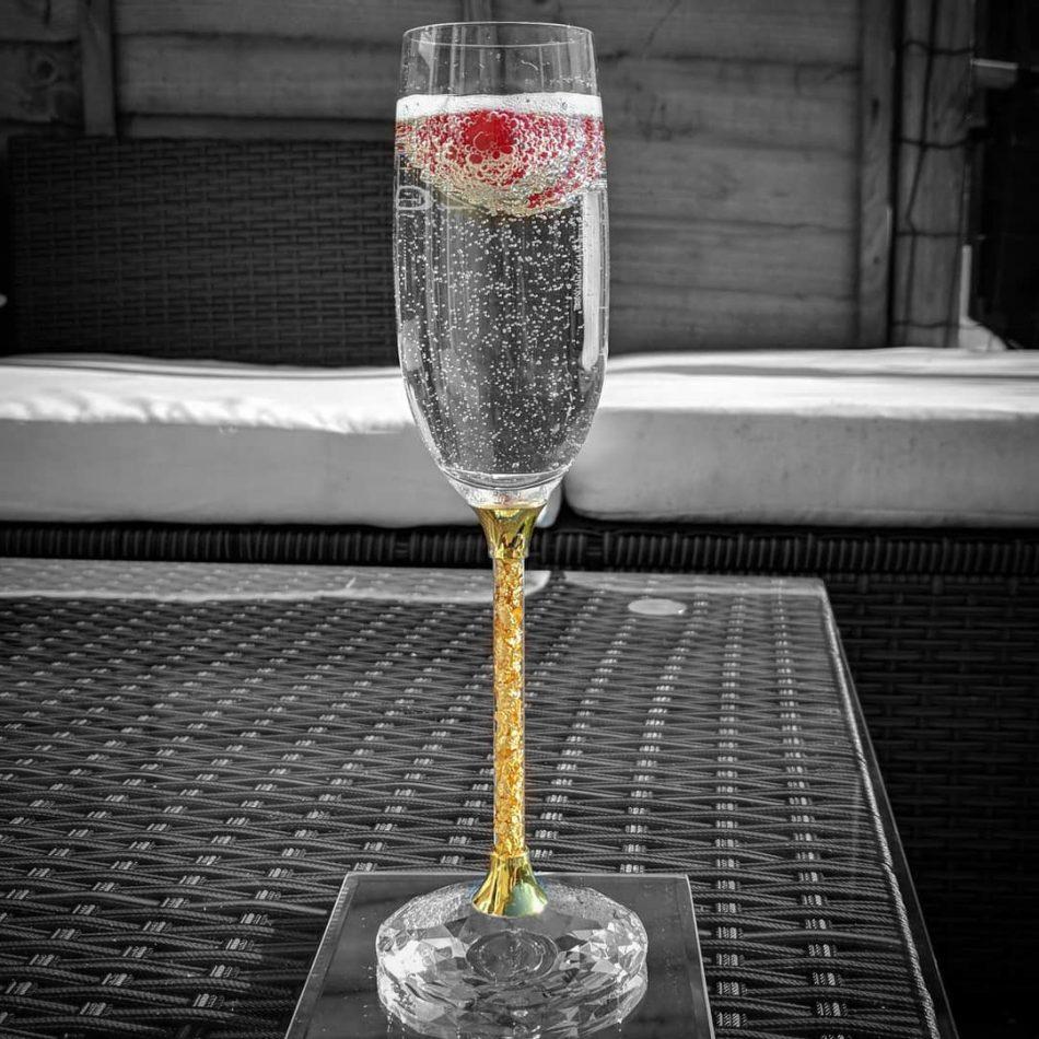 163fbecaab6 Pair of 24ct Gold Leaf Stem Crystal Champagne Flutes