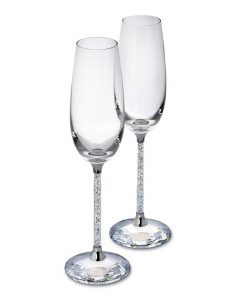 Pair of Swarovski Crystal Filled Stem Champagne Flutes