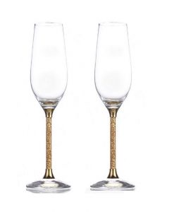 Pair of 24ct Gold Leaf Stem Crystal Champagne Flutes