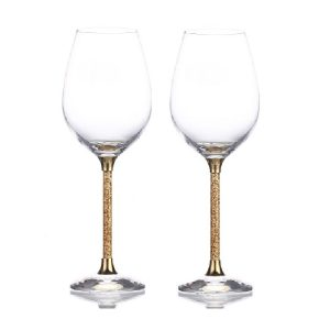 Pair of 24ct Gold Leaf Stem Crystal Wine Glasses