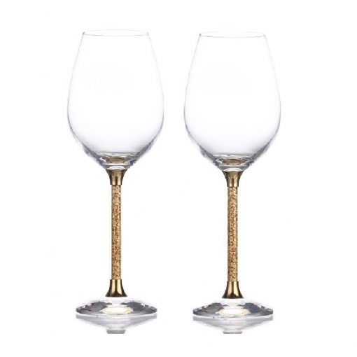 Pair of 24ct Gold Leaf Stem Crystal Wine Glasses