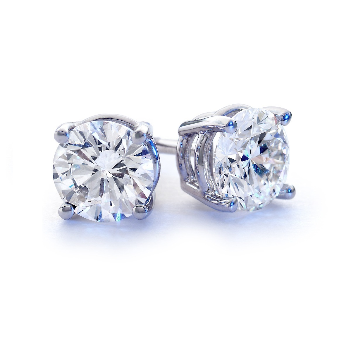 Sterling Silver Round Swarovski Stud Earrings Diamond Affair
