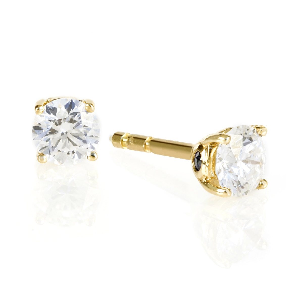 9ct Gold Round Swarovski Stud Earrings