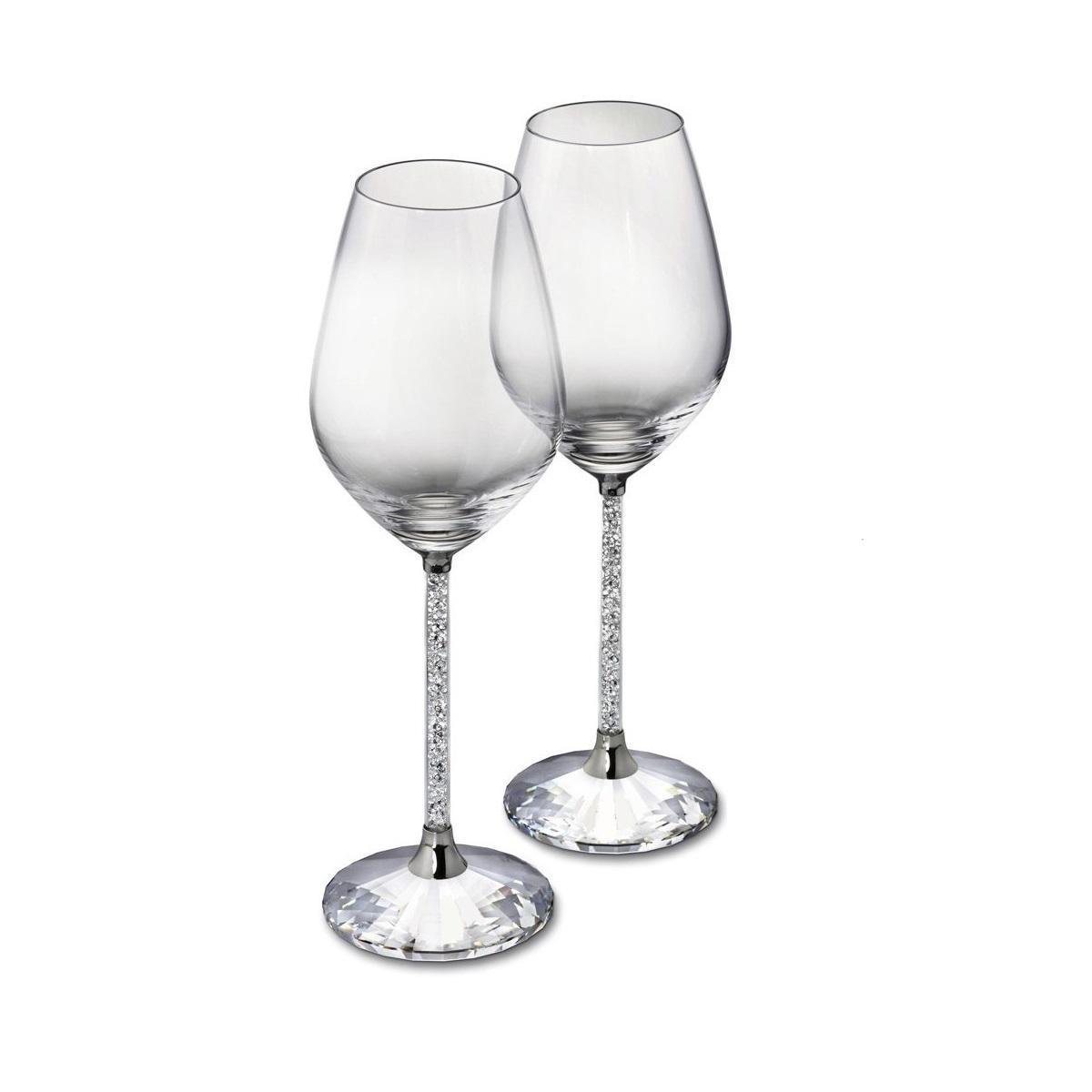 618cf396e89 Pair of Swarovski Crystal Filled Stem Wine Goblets - Diamond Affair