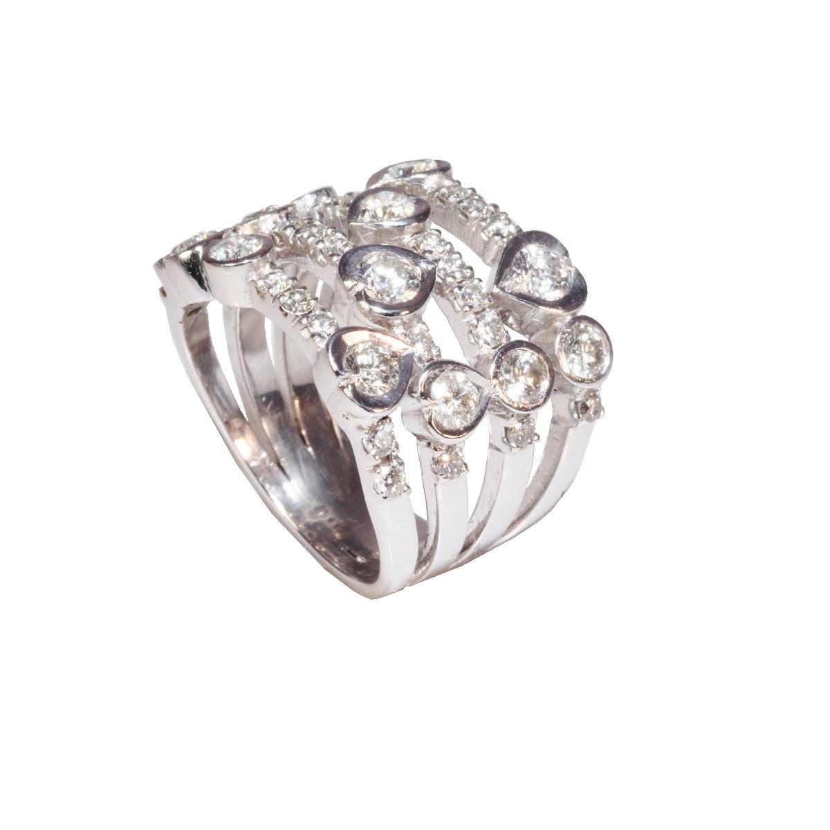 White Gold Diamond Waterfall Ring Diamond Affair