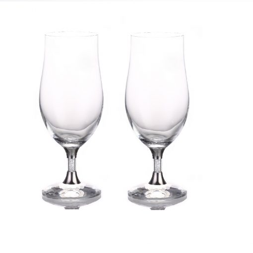 Pair of Swarovski Crystal Filled Stem Water Glasses