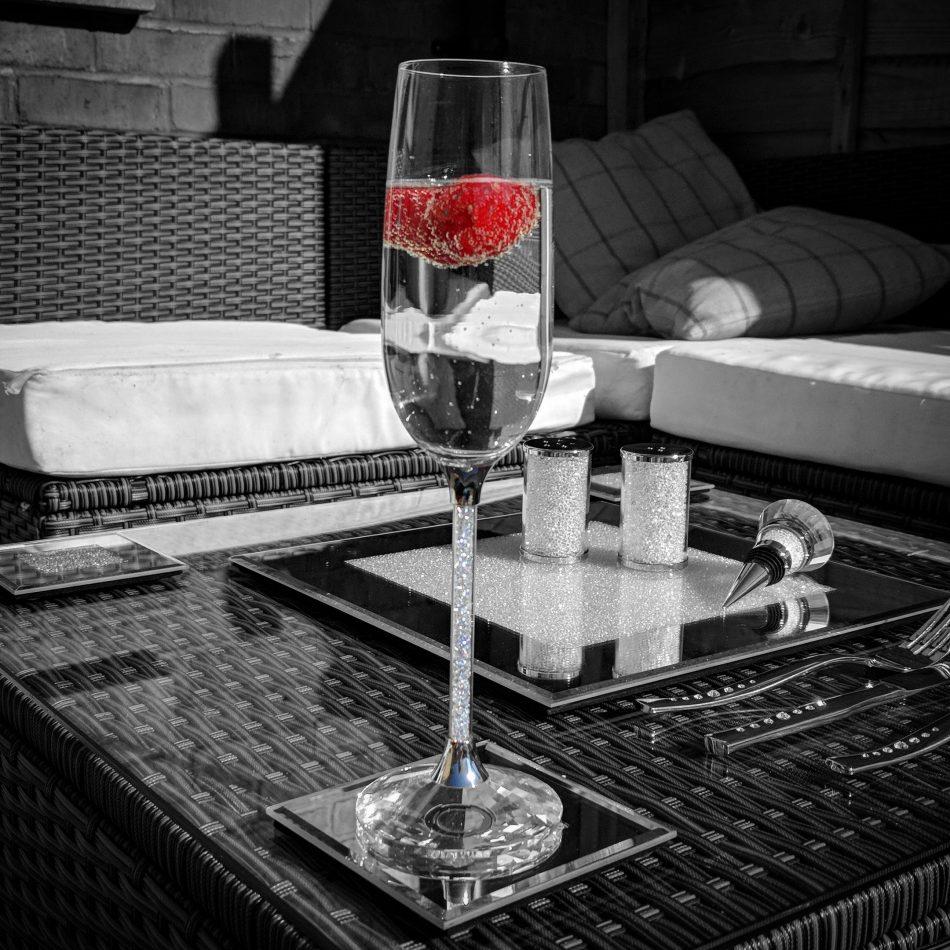 Pair Of Swarovski Crystal Filled Stem Champagne Flutes Diamond Affair