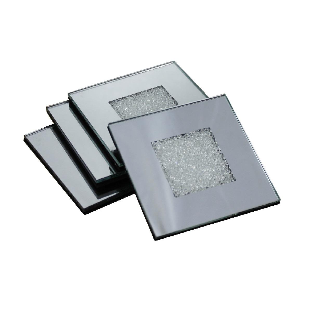 Swarovski Crystal Filled Mirrored Coasters Set Of 4