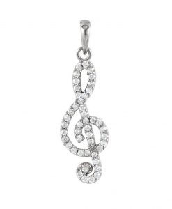 Silver Treble Clef Musical Note Necklace