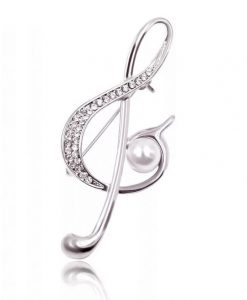 diamante treble clef musical note pin brooch