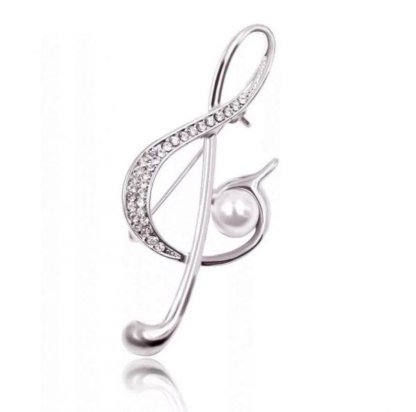 diamante treble clef musical note pin brooch