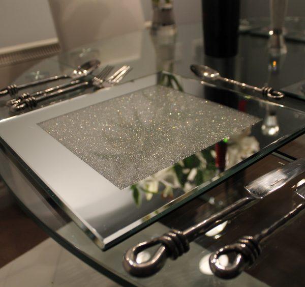 Swarovski Crystal Filled Mirrored Placemat Set