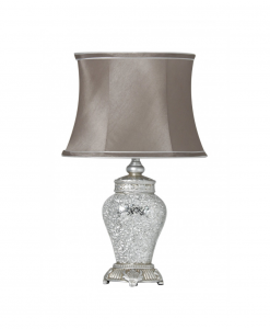 Silver Sparkle Mosaic Antique Regency Statement Lamp With Taupe Shade