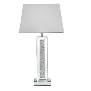 Mirrored Pillar Table Lamp Swarovski Crystals