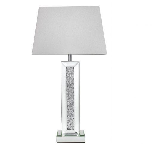 Mirrored Pillar Table Lamp Swarovski Crystals