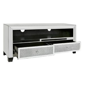 Mirrored TV Stand Entertainment Unit with Swarovski Crystal Elements