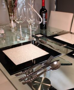 Swarovski Crystal Filled Black Place Mat Set