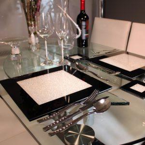 Swarovski Crystal Filled Black Place Mat Set