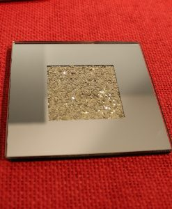 Mirrored Glass Coasters Filled with Gold Glitter Set of 4