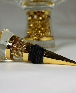 Gold Swarovski Crystal Filled Wine Bottle Stopper in Gift Box
