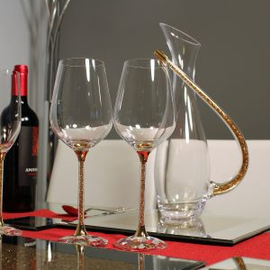 Crystal Wine Glasses and Decanter Set with Gold Swarovski Crystals.