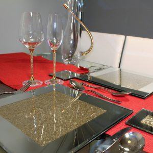 Set of 4 Gold Glitter Mirrored Place Mats