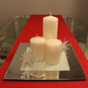 Mirrored Glass Candle Plate filled with Swarovski Crystals
