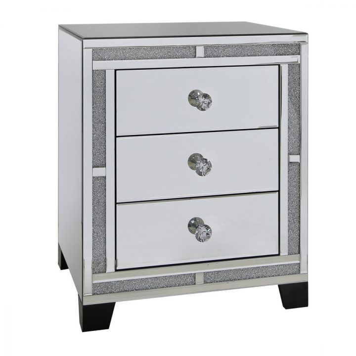 Tuscany Mirrored 3 Drawer Bedside Cabinet with Swarovski Crystals
