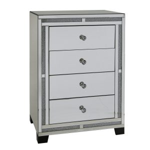 Tuscany Mirrored 4 Drawer Cabinet with Swarovski Crystals