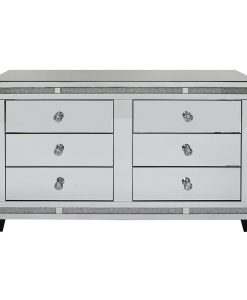 Tuscany Mirrored 6 Drawer Sideboard Cabinet with Swarovski Crystals
