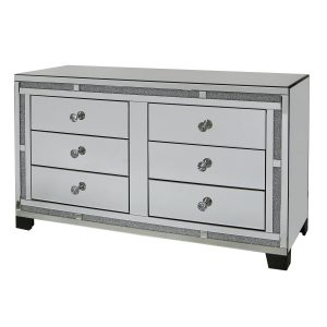 Tuscany Mirrored 6 Drawer Cabinet with Swarovski Crystals
