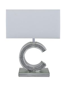 "Small Tuscany Mirrored ""C"" Table Lamp Filled With Swarovski Crystals"