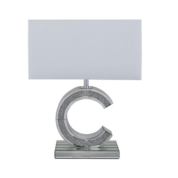 """Small Tuscany Mirrored """"C"""" Table Lamp Filled With Swarovski Crystals"""