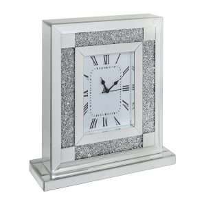 Tuscany Mirrored Square Table Clock with Swarovski Crystals