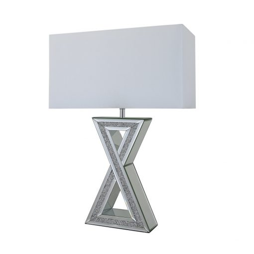 Tuscany Mirrored X Shape Table Lamp with Swarovski Crystals