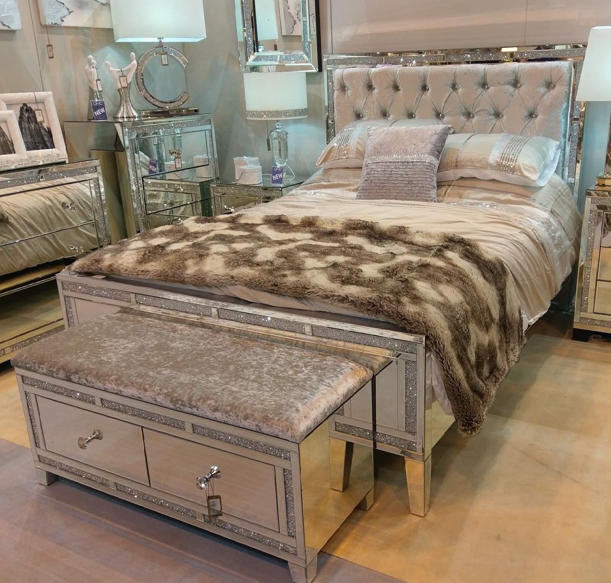 Mirrored Tuscany King Size Bed With Swarovski Crystals