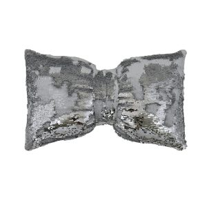 White & Silver Two Tone Sequin Bow Shaped Scatter Cushion