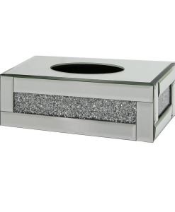 Tuscany Mirrored Tissue Box with Swaroski Crystals Medium