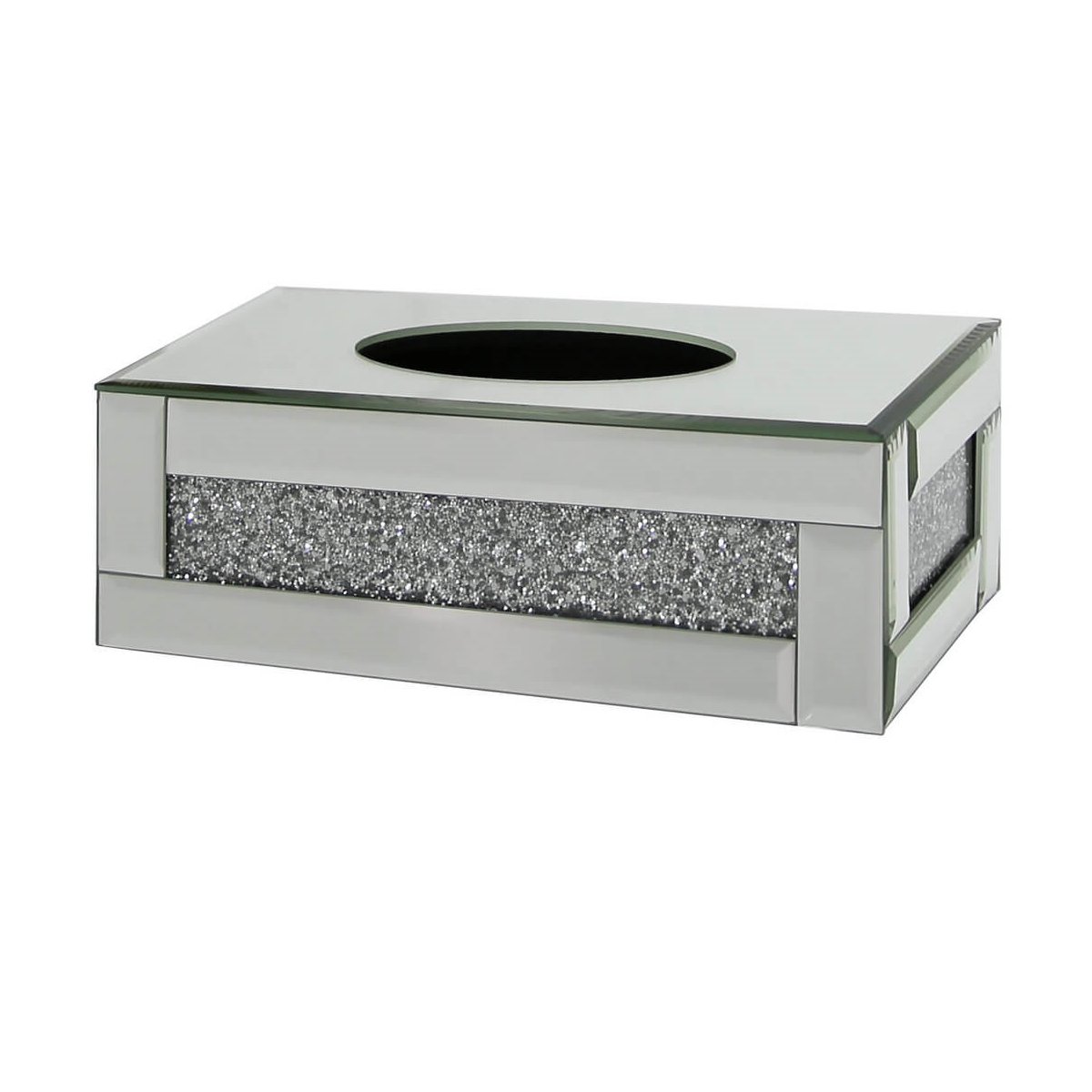 Tuscany Mirrored Tissue Box With Swaroski Crystals Um