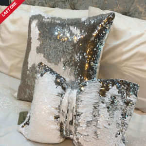 Silver White Sequin Square Cushion