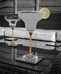 Pair of 24ct Gold Filled Stem Margarita Glasses