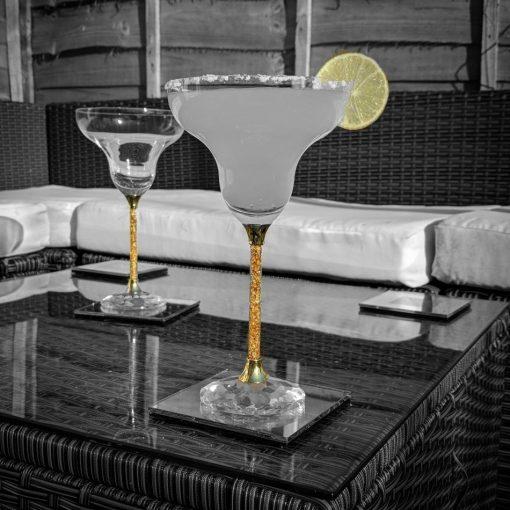 Pair of 24ct Gold Filled Stem Margarita Glasses