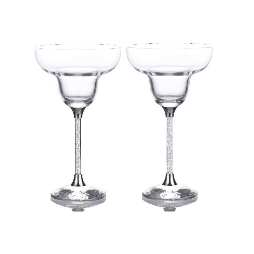 Swarovski Crystal Filled Stem Margarita Glasses